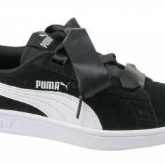 Pantofi sport Puma Smash V2 Ribbon Jr 366003-01 pentru Copii, 38.5, 39, Negru