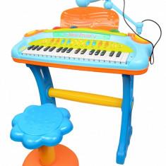 Orga/Piano Music cu scaunel și microfon pentru copii,cu sunete si lumini