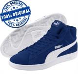 Pantofi sport Puma Smash Mid pentru barbati - ghete originale - piele intoarsa, 43 - 46, Albastru
