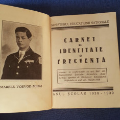 Carnet de identitate si frecventa - 1938 - 1939 - Liceul de fete Roman - Rar