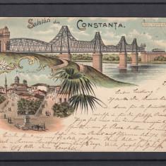 SALUTARI DIN CONSTANTA PIATA OVIDIU PODUL PESTE DUNARE CERNAVODA LITOGRAFIE 1898, Circulata, Printata