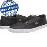 Pantofi sport Lacoste Riberac LCR3 SPM pentru barbati - adidasi originali piele, 43, Negru, Piele naturala
