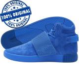 Pantofi sport Adidas Originals Tubular Invader Strap pentru barbati - piele, 44, Albastru, Piele intoarsa