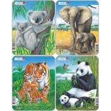 Set 4 Puzzle-uri Animale: Koala, Elefant, Tigru, Panda, 8 piese Larsen LRV4 B39016803