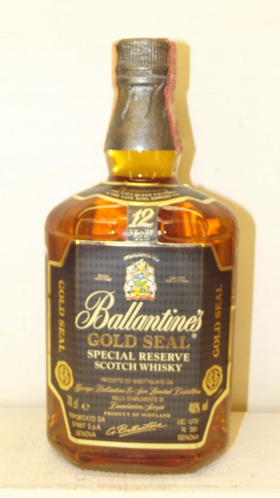 RARE BALLANTINES, GOLD SEAL SPECIAL RESERVE, AGED 12 YEARD cl 70 gr 40 anii 80