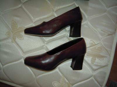 Pantofi Eleganti Din Piele Romantica Maro Marimea 35 36 Lungime