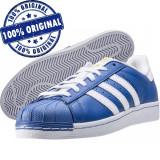 Pantofi sport Adidas Originals Superstar pentru barbati - adidasi originali, 38 2/3, 43 1/3, 44 2/3, 46, Albastru, Piele naturala