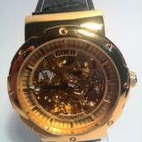 Ceas barbatesc Goer Skeleton Gold - Mecanism Automatic, Casual, Mecanic-Automatic, Inox