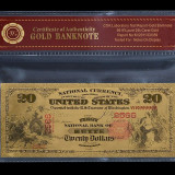 20 DOLARI 1875 S.U.A. - BANCNOTA POLYMER (PLASTIC) PLACATA CU AUR 24K