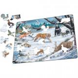 Puzzle Animale Salbatice din Siberia si Nord-Estul Asiei, 66 Piese Larsen LRFH34 B39016875