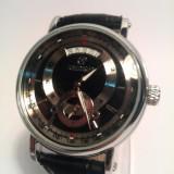 Ceas barbatesc Goer negru clasic cu indicator data - Mecanism Automatic, Casual, Mecanic-Automatic, Inox
