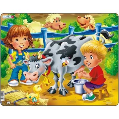 Puzzle Copiii la Ferma cu Vaca, 18 Piese Larsen LRBM5 B39016773 foto