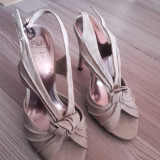 Sandale de dama cu toc, 36, Crem