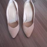 Pantofi stileto piele dama cu toc, 35, Crem