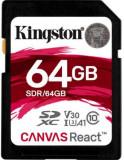 Card de memorie Kingston Canvas React, SDXC, 64 GB, 100 MB/s Citire, 80 MB/s Scriere, Clasa 10 UHS-I