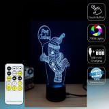NOUTATE! LAMPA/VEIOZA CU EFECT 3D,OM DE ZAPADA,COLOR RGB,TELECOMANDA,LUMINI LED