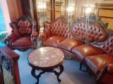 Canapea baroc din lemn si piele naturala, Sufragerii si mobilier salon, Dupa 1950