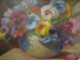 Vas cu panselute, tablou in ulei pe carton semnat T Concec,, Flori, Realism