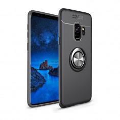 Husa Spate Silicon Premium Iring Metalic Upzz Samsung Galaxy S9+ Plus Cu Ring Metalic Pe Spate Negru