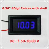 Voltmetru digital cu leduri albastre, 3.5 - 30 V, cu 4 digit si 2 fire, carcasa