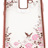 Husa Spate Forcell Bling Diamond Samsung A6 2018 Rose Gold