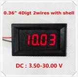 Voltmetru digital cu leduri rosii, 3.5 - 30 V, cu 4 digit si 2 fire, carcasa