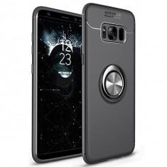 Husa Spate Silicon Premium Iring Metalic Upzz Samsung Galaxy S8 Cu Ring Metalic Pe Spate Negru foto