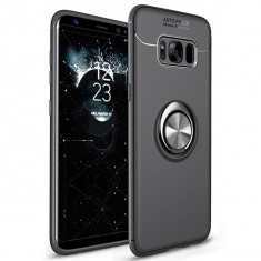 Husa Spate Silicon Premium Iring Metalic Upzz Samsung Galaxy S8 Cu Ring Metalic Pe Spate Negru