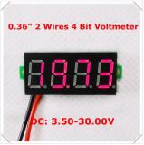 Voltmetru digital cu leduri rosii, 3.5 - 30 V, cu 4 digit si 2 fire