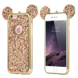 Husa Lux 3d Fashion Glitter Ears iPhone 6 6s Gold