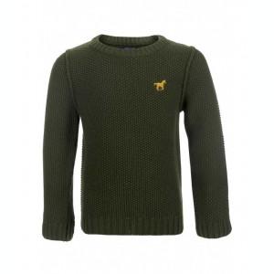 Pulover Minoti tricotat Jumper verde pentru baieti