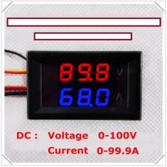 Voltmetru si Ampermetru digital 100 V 100 A rosu - albastru