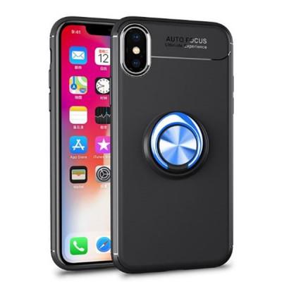 Husa Spate Silicon Premium Iring Metalic Upzz iPhone X, iPhone 10 Cu Ring Metalic Pe Spate Negru-blue foto