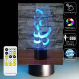NOU! LAMPA 3D SENZATIONALA CU MOS CRACIUN,TELECOMANDA,COLOR RGB,MULTIPLE MODURI.