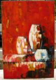 Tablou Natura moarta cu vase pictura ulei in cutit pe panza 40x60cm