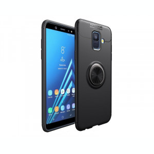 Husa Spate Silicon Premium Iring Metalic Upzz Samsung Galaxy A6+ Plus 2018 Cu Ring Metalic Pe Spate Negru