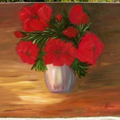 Tablou Natura statica Vas cu Maci rosii pictura in ulei pe panza 60x70cm