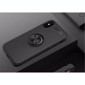 Husa Spate Silicon Premium Iring Metalic Upzz iPhone X, iPhone 10 Cu Ring Metalic Pe Spate Negru