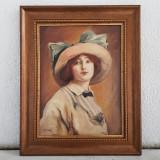 MIȘU TEIȘANU-PICTOR ROMAN-PORTRET DE DOMNISOARA-ULEI PE PANZA-, Portrete, Realism