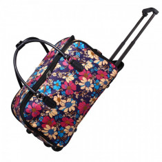 AGT0012 - Flower Print Travel Holdall Trolley Luggage With Wheels - CABIN APPROVED