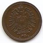 Germania 1 Pfennig 1875 A - Wilhelm I (type 1 - large shield) Cupru, 17.7mm KM-1, Europa
