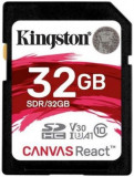 Card de memorie Kingston Canvas React, SDHC, 32 GB, 100 MB/s Citire, 70 MB/s Scriere, Clasa 10 UHS-I