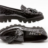 Pantofi dama talpa joasa, 38, Nero, Cu talpa joasa