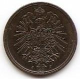 Germania 2 Pfennig  1875 J - Wilhelm I (type 1 - large shield) Cupru,  20mm KM-2, Europa