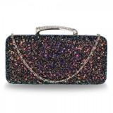 AGC00368 - Black Glitter Evening Wedding Clutch Box