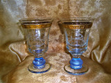 Cupe vaze urne cristal bicolor Bohemia, mid century, colectie, vintage