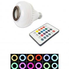Bec Smart Full, multicolor, boxa bluetooth incorporata, telecomanda 24 butoane, 4 jocuri de lumini