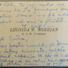 Carte de vizita LEONIDA SOMESAN  S.A.R Telefoane-Bucuresti. Interbelica.
