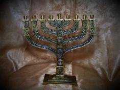 Iudaica! Menorah bronz dore, Israel, colectie, cadou, vintage foto