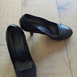 Pantofi piele GALLERY, 37, Negru, Cu toc